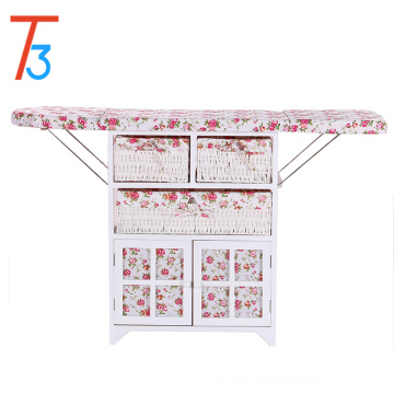 home furniture ironing board foldable wooden cabinet with wicker drawer
